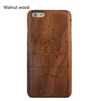Wholesale Life Cell Phone Cover - The tree of life Genuine Solid Wood Case for Apple 6S Plus 7 7plus Natural Handcrafted Wood True Hardwoods Cell Phone Cover walnut Shell