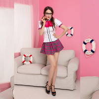 Wholesale Plaid Shirts Juniors - 2016 Hot Sale Halloween Masquerade Sexy lovely Plaid skirt Students Little Junior Sister Apprentice Skirt Shirt and T-pant