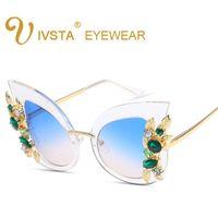 Wholesale Decorative Sunglasses - Women Luxury Diamond Cat Eye Sun Glasses Big Frame New Fashion Trend Big Sunglasses Rhinestones Decorative Sunglasses