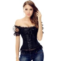 Wholesale Steel Boned Xl Corset - Wholesale-2016 Super Sexy Royal Trim Black Steel Boned Overbust Corset Hot Lace Off Shoulder Waist Cincher Front Lacing Corset Plus Size