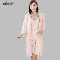 Wholesale Satin Night Suits - Wholesale- Fdfklak Women Robe Gown Set Faux Silk Robe Femme Satin Sleepwear Home Suit Night Sleep 2 Pieces Bathrobe Plus Size XL-XXL E0906