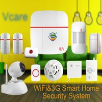 Wholesale Home Button 3g - Wholesale- (1set)Vcare WIFI 3G WCDMA Smart Home Alarm Security System with Wireless Detector & Sensor & SOS Button & HD PTZ IP Camera Ver C