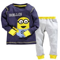 Wholesale Despicable Clothing - Baby boy clothes 2016 New despicable me 2 minion boys girls clothes hoodies + casual long pants 2pc clothing sets