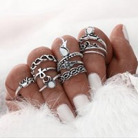 Wholesale Halloween Knuckle Rings - 10pcs Set Ring Sets for Women Silver Color Beach Vintage Punk Elephant Knuckle Midi Ring DHL Freeshipping