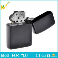 Wholesale Wholesale Lighter Cases - New hot Fire Retro Metal Black Frosted Windproof Metal Cigarette Lighter Smoking Fuel Lighters Cigarette Case