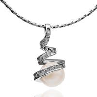 weiße nachgemachte perle rhinestone halsketten großhandel-Weißgold-Ketten-Halsketten-Kristallrhinestone-Art und Weiseperlen-Schmucksache-verdrehte gewundene Wasser-Tropfen-hängende nachgemachte Rhodium-Halskette für Mädchen