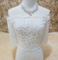 elfenbein organza bolero großhandel-Perlen Spitze Braut Wraps Custom Made Halbe Ärmel Brautjacken für Hochzeit Lace Up Wedding Wraps