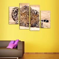 gemälde waldölfarben großhandel-4 Bild Kombination Eindruck Tierölgemälde Schöne Tier Leinwand Druck Kunst Wohnkultur von Waldkönig Tiger Gemälde