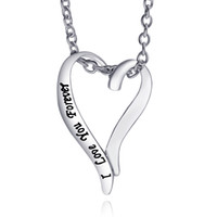 Wholesale Handstamped Jewelry - 2016 Heart-shaped Pendant handmade handstamped engraving I love you sterling silver jewelry necklaces Valentine's Mothers Day Gift