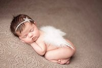 Wholesale Snow Headband Flower - 2016 new newborn infant Handmade feather Angel wings baby baby Fashion style snow flowers Headbands children photography props