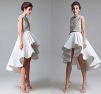 Wholesale Tops Beaded Low Back - Ashi Studio Two Piece Evening Dresses Crew Sleeveless Beaded Top High Low Ruffles Skirt Prom Dresses Custom Made Zipper Back Formal Wear