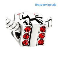 Wholesale Pandora Red Box - 10pcs per lot Merry Christmas Red crystal gift box bead charm European Fits Pandora style DIY Bracelet