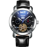 Wholesale Switzerland Watches Automatic - Wholesale-AESOP 9978 Switzerland watches men luxury brand multi-functional leather Tourbillon automatic mechanical relogio masculino