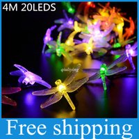 4M 20LED Dragonfly Энергосберегающая солнечная фея LED String Light Lamp Outdoor Christmas 2016 Festival Party Garden Decoration