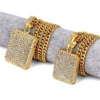 Wholesale zodiac pendants for men resale online - 2017 Mens Hip Hop Gold Chain Fashion Jewelry Full Rhinestone Pendant Necklaces Gold Filled Hiphop Zodiac Jewelry Men Chain Necklace for Men