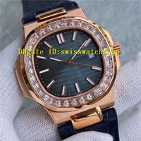 Wholesale Baguette Diamonds - Luxury Brand 18K Rose Gold Baguette Diamond Nautilus Automatic Mens Watch Blue Alligator Leather Strap Bussiness Mans Wristwatches