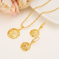 Wholesale Yellow Gold Pendant Circle - 24k Yellow Solid Fine Gold Filled Semi-circle Earrings Pendant Necklace Fashion Dubai Multilayer Flower Grass Jewelry Set Women's Exquisite