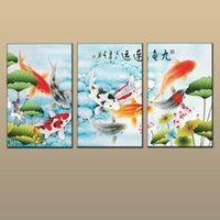 Decoración de la pared del arte del hogar Viento de China Feng Shui Fish Koi pintura Impreso en lienzo Animal Modern Living Room 3 Panel Regalos abt036