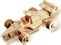 Wholesale Formula Car Model - Free shipping------ In 2016 Year New Product's Formula Car 3 d Wooden Simulation Stereo DIY Assembly Model Educational Toys