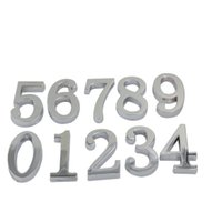 Wholesale Silver Digits House Hotel Door Number Address Plate Sign Size x30mm Self Adhesive Sticker Alloy Room Gate Number