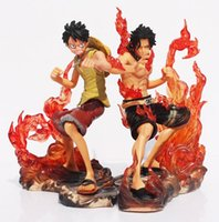 Wholesale One Piece Brotherhood - 2pcs set 15cm One Piece DX Luffy Ace Brotherhood Anime Cartoon 2 Years Later PVC Action Figure Toys Battle Ver Model Dolls