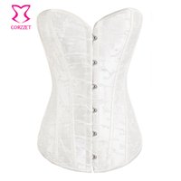 Wholesale Bridal Wedding Clothes - Wholesale-White Embroideried Corselet Plus Size Corset Lingerie Wedding Korsett For Women Sexy Bridal Corsets And Bustiers Gothic Clothing