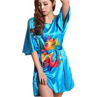 Wholesale Sexy Clothes For Women Sleep - Wholesale-Top New Summer Style Silk Women's Bathrobe Of Kigurumi Pajamas For Women Sleep Top For Indoor Clothing 10188