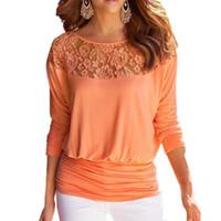 üç renkli bluz toptan satış-Kadınlar Dantel Dikiş Şifon Bluzlar Gevşek Tip Slash Boyun Gömlek Katı Renk Üç Çeyrek Kollu Kadın Sonbahar Bluz