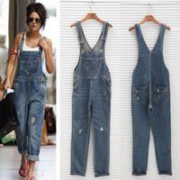 calça jeans geral venda por atacado-Atacado- 2017 New Womens Ladies Baggy Denim Jeans Comprimento total Pinafore Dungaree macacão geral