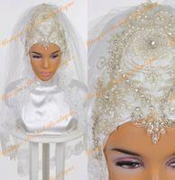 perles longues voiles achat en gros de-2016 belle musulman voile de mariée avec beaucoup de perles et de perles vraies photos Bling Bling musulman mariées hijab avec dentelle bord appliqué