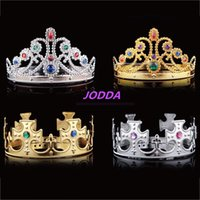 Wholesale Birthday Diamond Tiara - 2017 Luxury Crystal Diamond King And Queens Crown Hats Cosplay Holloween Xmas Party Birthday Princess Gifts
