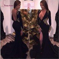 Wholesale Vestidos Noche Cheap - 2016 Cheap Sexy Deep V Neck Mermaid Long Prom Dresses Applique Black Prom Party Gown vestidos de noche 2K16 Plus Size Evening Dresses