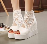 Wholesale White Silver Colors Platform - Buld silk lace white silver wedge sandals high platform heels invisible height increased peep toe women shoes 3 colors size 35 to 39
