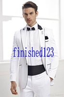 Wholesale Hot Mens Suit Dress - Wholesale - 2017 Hot Sale One Button White Groom Tuxedos Peak Lapel Groomsmen Mens Wedding Dresses Prom Suits (Jacket+Pants+Girdle+Tie)