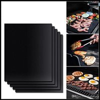 Wholesale Teflon Mat - Black BBQ Grill Mat Nonstick Barbecue Mats Durable Sheet Pad 40*33cm Baking Liners Heat Resistance Microwave Oven Reusable Cooking Tool