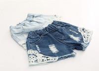 moda coreana bonito da sarja de nimes venda por atacado-Denim Shorts Menina Coreana Calções de Renda Calças de Brim do miúdo Verão Meninas Shorts Calças Jeans Moda Bonito Crianças Shorts