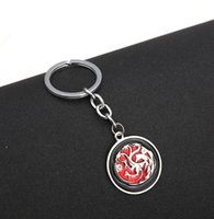 Wholesale Best Movie Voices - 2016 Best Selling Keyrings New Design The Songs of Ice And Fire Key Chain Game of Throne Dragon Key Chains 12PCS LOT