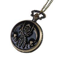 Wholesale Enamel Pocket Watches - Enamel Skull Death Grim Reaper Pocket Watches Bronze Round Fob Watch Quartz Watch Locket Necklaces women Hallowmas jewelry Gift 230228