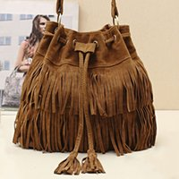 Wholesale Wholesale Hobo Messenger - Wholesale-Women Faux Suede Handbag Tassel Shoulder Bags Tote Purse Messenger Hobo Bag