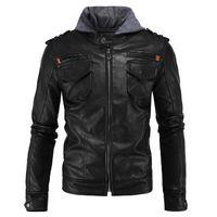 Wholesale Leather Hooded Biker Jacket Men - 2016 men autumn winter fashion brand slim ift PU leather motorcycle hooded biker jacket plus size