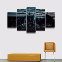 Wholesale Cartoon Pictures For Kids Room - 5 Panel Printed modular picture dark Batman painting wall decor for boy kids children room Canvas art prints poster tableau decoration