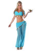 hint halloween kostümleri toptan satış-Seksi Gökyüzü Mavi Arap Kostüm Kadınlar Oryantal Dans Elbise Karnaval Cadılar Bayramı Hint Prenses Cosplay Kostüm Sahne Giyim