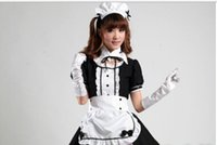 Wholesale Women Gothic Costume Plus - halloween costume Sexy French Maid Costume Sweet Gothic Lolita Dress Anime Cosplay Sissy Maid Uniform Plus Size Halloween Costumes For Women