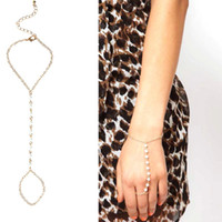Wholesale Conjoined Ring Bracelet - golden punk Imitation girl String pearls Bracelet two Kind Usage Merge 2in1 conjoined Siamese long beads Bracelets integrates bangle s004