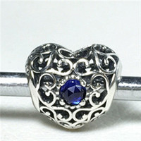 Wholesale September Sapphire - S925 Sterling Silver September Signature Heart Charm Bead with Synthetic Sapphire Fits European Pandora Jewelry Bracelets Necklaces