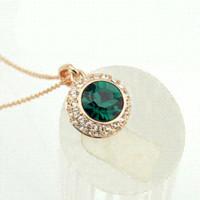 Wholesale Italina Necklace - 434 Italina Fashion Emerald Stone Round Pendants Full Austria Crystal Gold Necklaces for women wedding Jewelry,Free Shipping