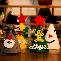 Wholesale Wholesale Felt Hats For Children - 2017 New Fashion Christmas Santa Claus Snowman Felt Hat Caps Decoration Festival Charms Favor Deer Caps For Child Gifts Party Decor Suit For