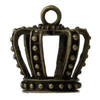 "Wholesale Antique Bronze Charms Crown - Charm Pendants Crown Antique Bronze 32mm(1 2 8"") x 30mm(1 1 8""),2 PCs findings new jewelry making DIY"