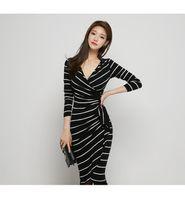 Wholesale Slim Dresses Korea - New Type South Korea Ladies Gentlewomen Noble Temperament Slim V Neck Long Sleeve Stripe Medium Long Lotus Leaf Type