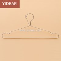 Barato Fio De Aço Roupas Cabides-Yidear 42cm Anti Wind Stainless Steel Clothes Hanger Metal Wire Coat Hanger, Wet and Dry Use Metal Hanger